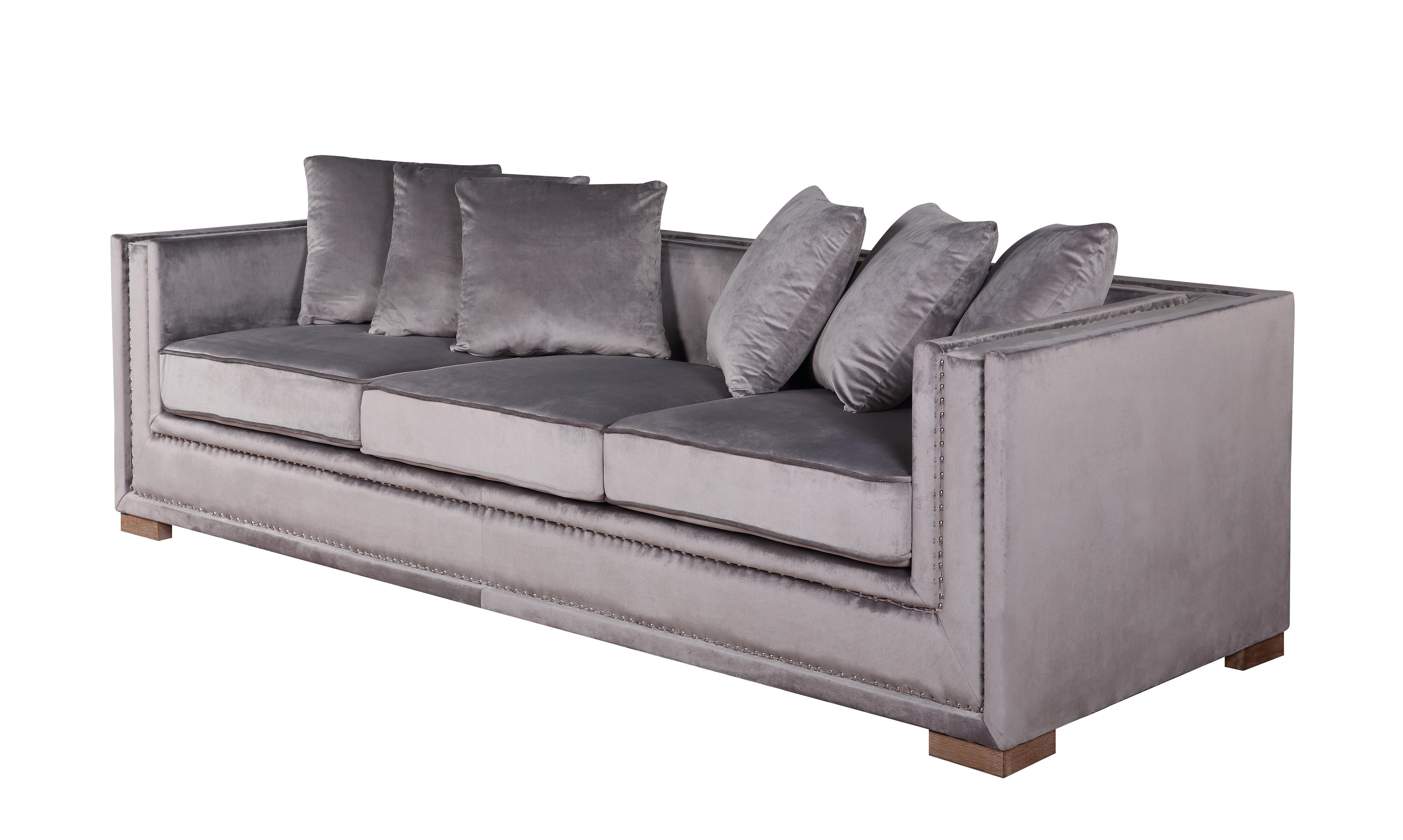 Manhattan 3 seter XL sofa grå velour - Vital Design